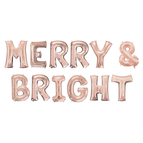 Rose Gold MERRY & BRIGHT Christmas Small Air Fill Balloon Kit Product Image
