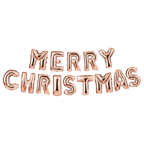Rose Gold Merry Christmas Foil Balloon Banner Product Image