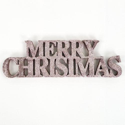 Rose Gold Merry Christmas Glitter Sign Decoration Table Centrepiece 32cm Product Image