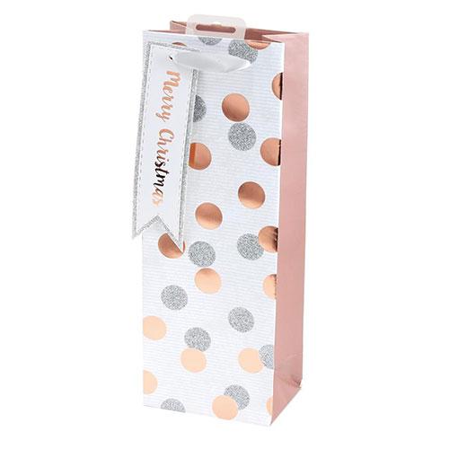 Rose Gold Metallic Dots Christmas Bottle Gift Bag 35cm