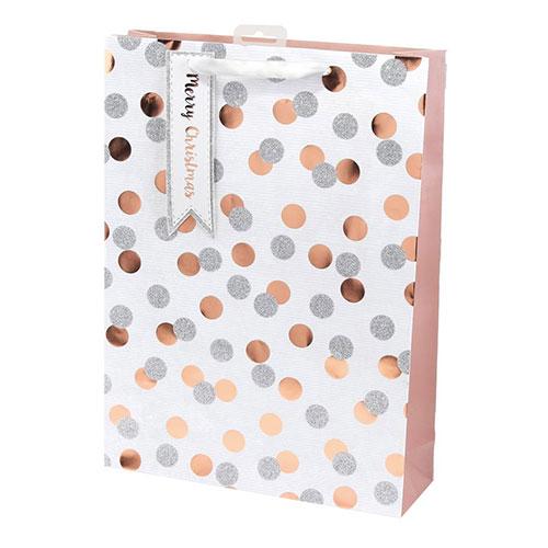 Rose Gold Metallic Dots Christmas Extra Large Gift Bag 45cm