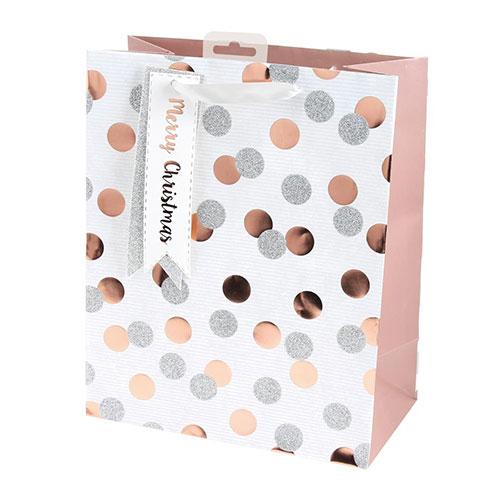 Rose Gold Metallic Dots Christmas Large Gift Bag 33cm