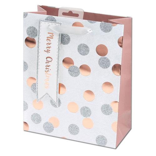 Rose Gold Metallic Dots Christmas Medium Gift Bag 26cm Product Image