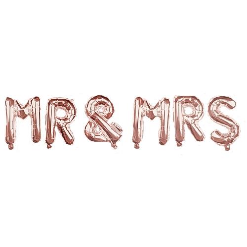 Rose Gold MR & MRS Air Fill Foil Letter Balloon Kit 34cm