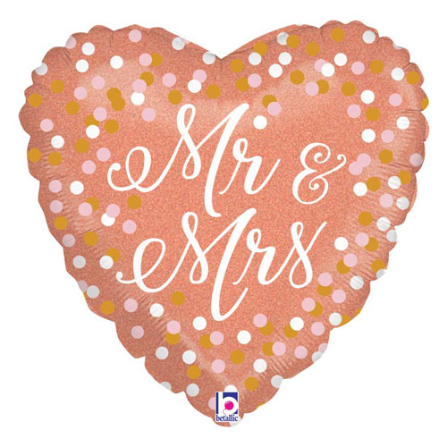 Rose Gold Mr & Mrs Holographic Heart Shape Foil Helium Balloon 46cm / 18 in