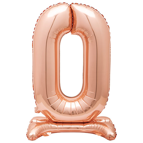 Rose Gold Number 0 Shaped Air Fill Standing Foil Balloon 76cm / 30 in Product Image