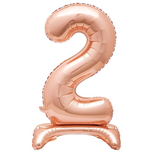 Rose Gold Number 2 Shaped Air Fill Standing Foil Balloon 76cm / 30 in