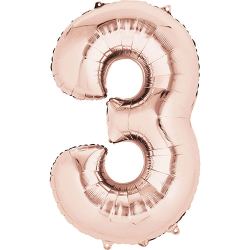Rose Gold Number 3 Air Fill Foil Balloon 40cm / 16 in