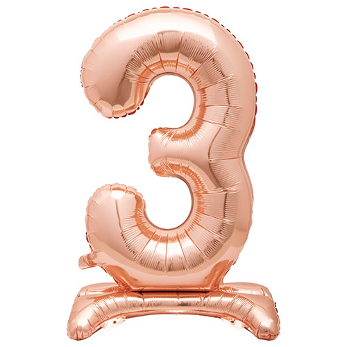 Rose Gold Number 3 Shaped Air Fill Standing Foil Balloon 76cm / 30 in