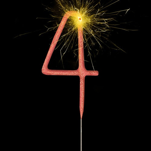 Rose Gold Number 4 Non Hand Held Sparkler 17cm Product Image