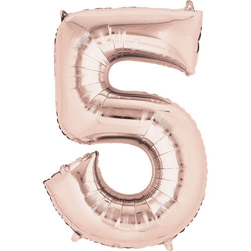Rose Gold Number 5 Air Fill Foil Balloon 40cm / 16 in