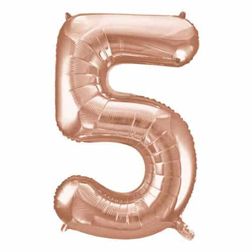 Rose Gold Number 5 Helium Foil Giant Balloon 86cm / 34 in Product Image