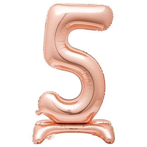 Rose Gold Number 5 Shaped Air Fill Standing Foil Balloon 76cm / 30 in