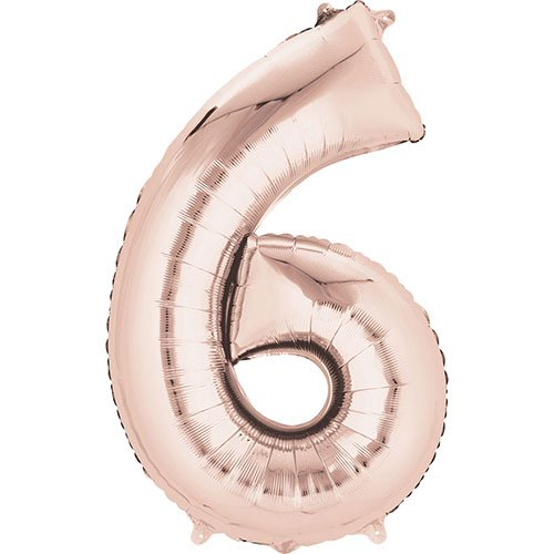 Rose Gold Number 6 Air Fill Foil Balloon 40cm / 16 in Product Image