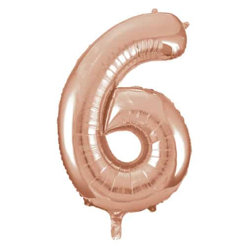 Rose Gold Number 6 Helium Foil Giant Balloon 86cm / 34 in Product Image