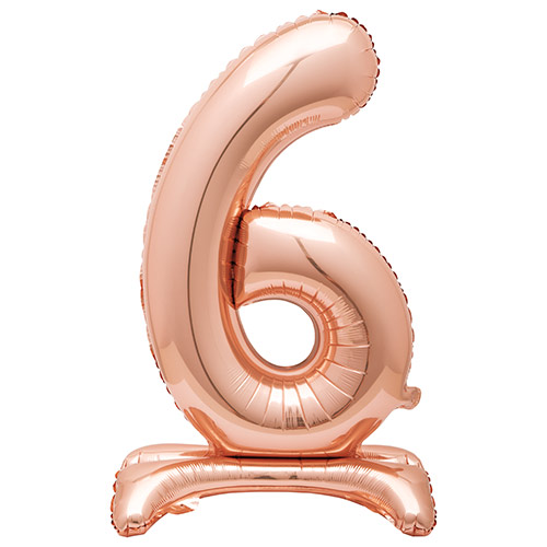 Rose Gold Number 6 Shaped Air Fill Standing Foil Balloon 76cm / 30 in