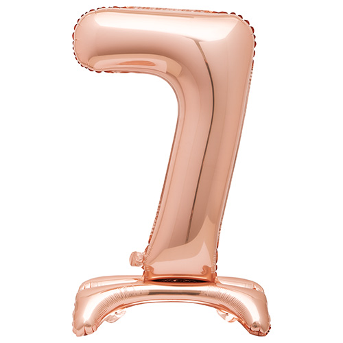 Rose Gold Number 7 Shaped Air Fill Standing Foil Balloon 76cm / 30 in