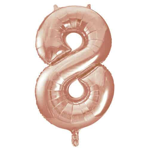 Rose Gold Number 8 Helium Foil Giant Balloon 86cm / 34 in Product Image