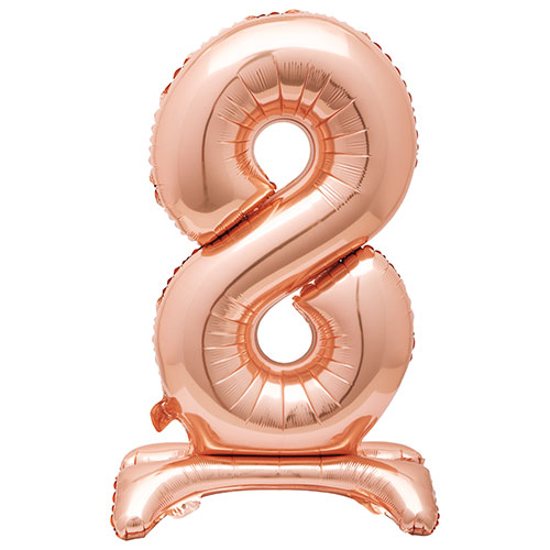 Rose Gold Number 8 Shaped Air Fill Standing Foil Balloon 76cm / 30 in