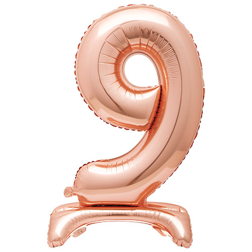 Rose Gold Number 9 Shaped Air Fill Standing Foil Balloon 76cm / 30 in