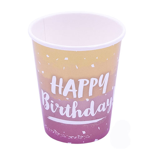 Rose Gold Ombre Birthday Metallic Paper Cups 250ml - Pack of 8