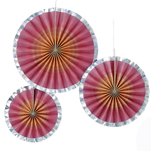 Rose Gold Ombre Paper Fan Hanging Decorations - Pack of 3