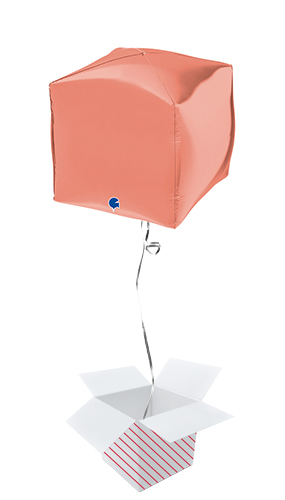 Rose Gold Square Shape 4D Foil Helium Balloon - Inflated Balloon in a Box Product Image