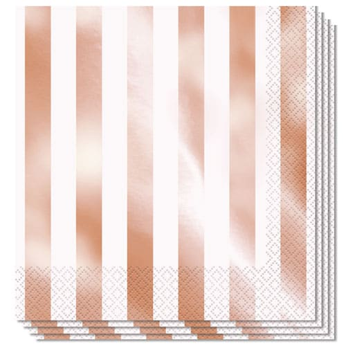 Rose Gold Foil Stripes Luncheon Napkins 2Ply 33cm - Pack of 16