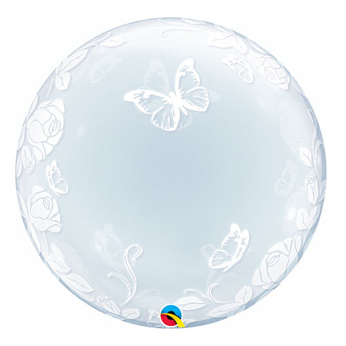 Roses And Butterflies Deco Bubble Helium Qualatex Balloon 61cm / 24 Inch Product Image