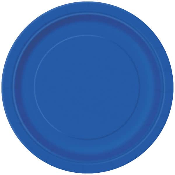 Royal Blue Round Paper Plates 22cm - Pack of 16 Bundle Product Image