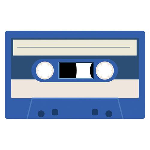 Royal Blue Cassette Tape PVC Party Sign Decoration 37cm x 23cm Product Image