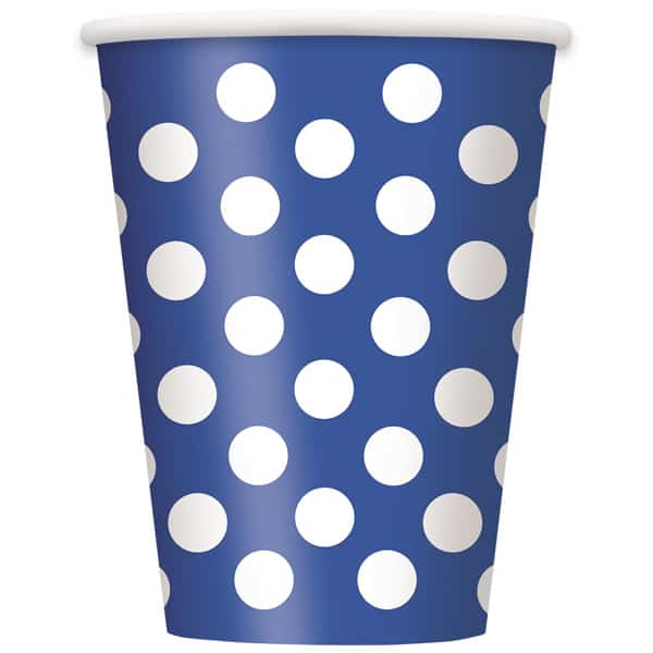 Royal Blue Decorative Dots Paper Cups 354ml - Pack of 6