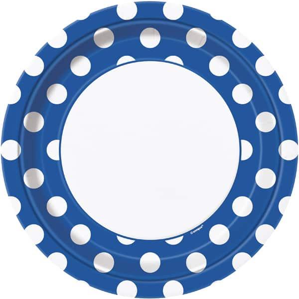 Royal Blue Decorative Dots Paper Plates 22cm - Pack of 8 Bundle Product Image