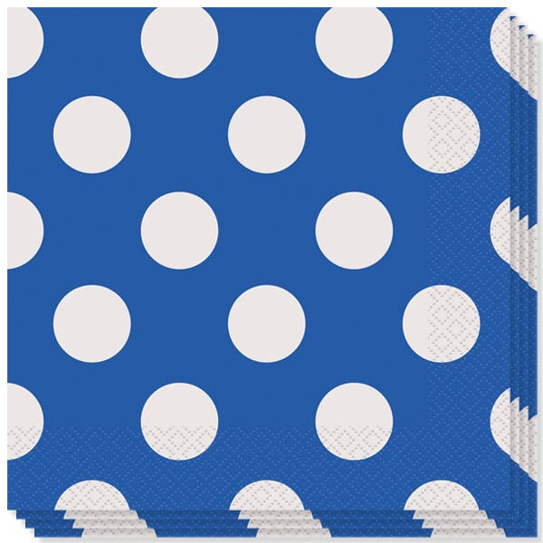 Royal Blue Decorative Dots 2 Ply Luncheon Napkins - 13 Inches / 33cm - Pack of 16