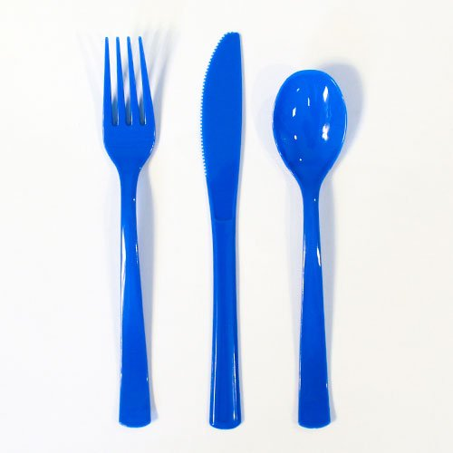 Royal Blue Plastic Assorted Cutlery Set - Pack of 18 Product Image