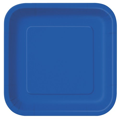 Royal Blue Square Paper Plates 22cm - Pack of 14 Product Image