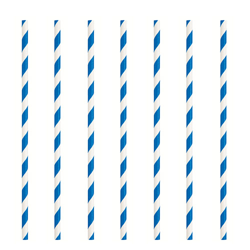 Royal Blue Striped Eco-Friendly Paper Straws - Pack of 10 Product Image