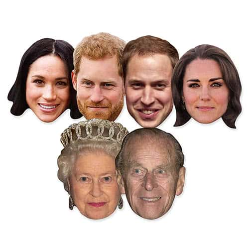Royal Family Couples Cardboard Face Masks - Pack of 6 Product Image