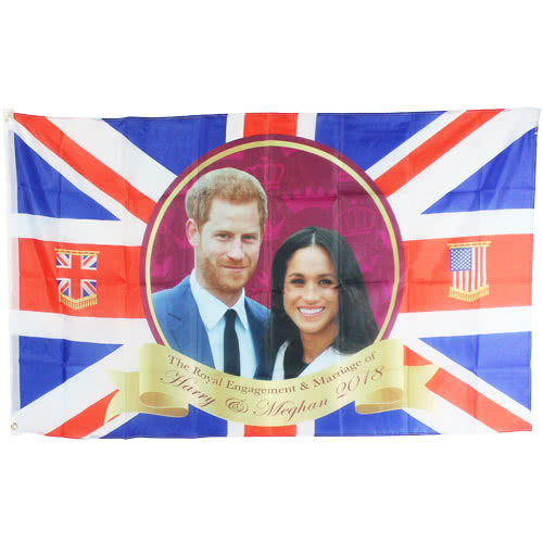 Union Jack Royal Wedding Harry And Meghan Rayon Flag With Grommets 132cm Product Image