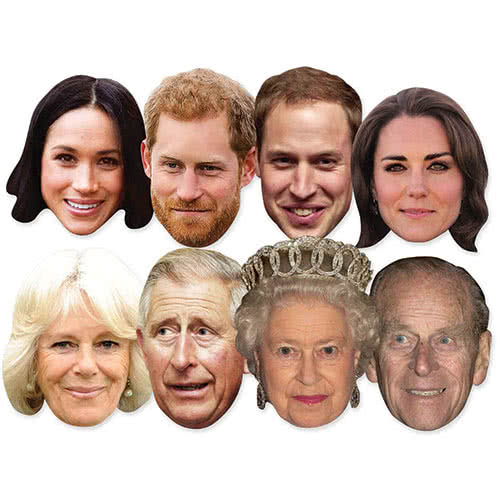 Royal Family Cardboard Face Masks - Pack of 8 Product Image