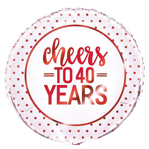 Ruby Anniversary Cheers to 40 Years Round Foil Helium Balloon 46cm / 18 in Product Image