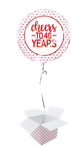 Ruby Anniversary Cheers to 40 Years Round Foil Helium Balloon - Inflated Balloon in a Box