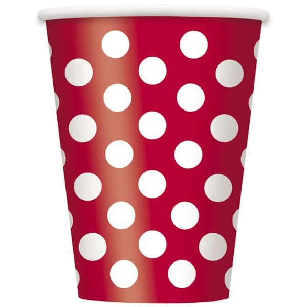Ruby Red Decorative Dots Paper Cups 354ml - Pack of 6