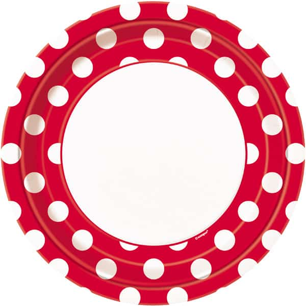 Ruby Red Decorative Dots Paper Plates 22cm - Pack of 8