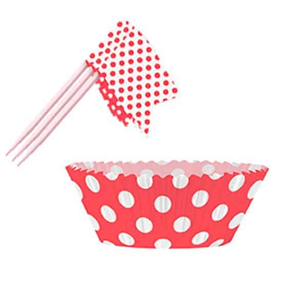 Ruby Red Decorative Dots Cupcake Decorating Kit - Pack of 24 Product Image