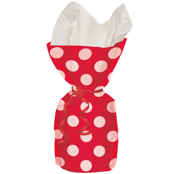 Ruby Red Decorative Dots Gift Bags - Pack of 20