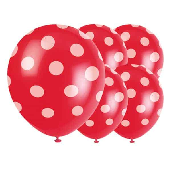 Ruby Red Decorative Dots Biodegradable Latex Balloons - 12 Inches / 30cm - Pack of 6