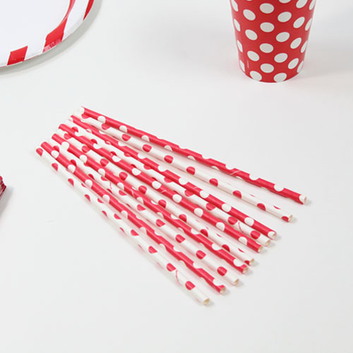 Ruby Red Decorative Dots Paper Drinking Straws - Pack of 10