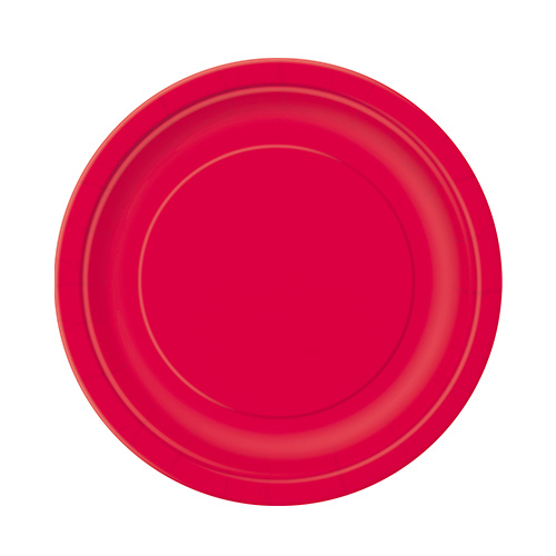 Ruby Red Round Paper Plates 17cm - Pack of 20