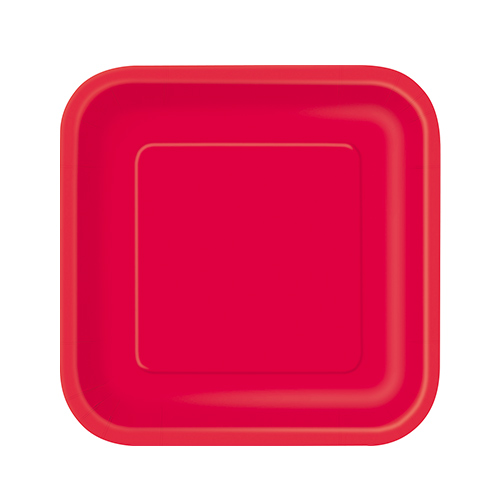 Ruby Red Square Paper Plates 17cm - Pack of 16 Product Image